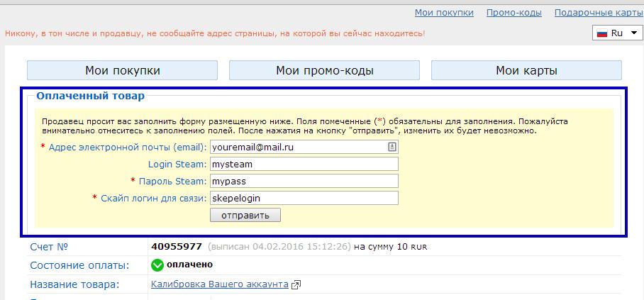 Сразу после оплаты можно дополнительно указать свой скайп а так же данные от steam аккаунта (необязательно)